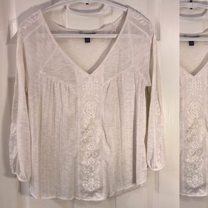 AEO Ivory Loose Style With Lace Top
